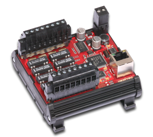 Ethernet Starter Modul wahlweise mit 8 Relais-Ausgängen oder 8 Opto-In-Eingängen