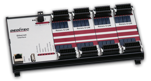 32 digitale bistabile Relais Ausgänge über Ethernet steuern