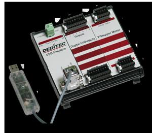 USB-/Ethernet-Schrittmotorenmodul mit 8 Relais-Ausgängen und 8 Opto-In-Eingängen (24V/mit Counter)