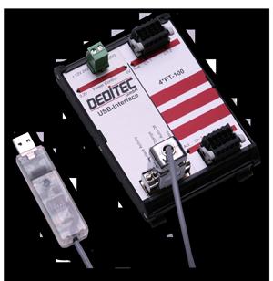 USB Modul mit 4 PT100-Eingängen zum Erfassen von Temperaturen